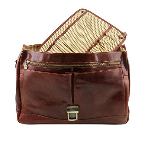 Tuscany Leather Mantova - Portafolio TL SMART multiples compartimientos en piel y solapa - TL141450 (Negro) Marrón