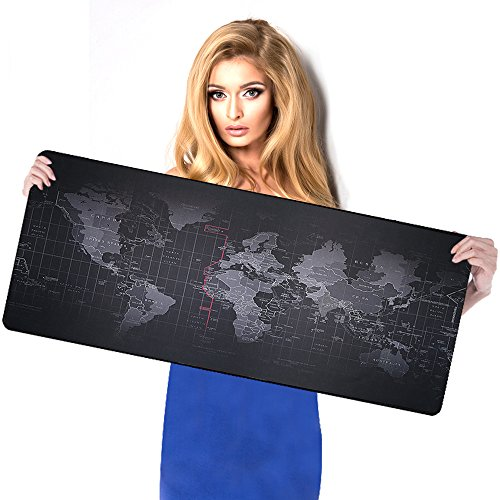 BIFY World Map Extended Gaming Mouse Pad Large Size 900x400mm Office Desk Pad Mat with Stitched Edges for PC Laptop Computer - World Map