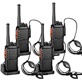 Qianghong Portable Rechargeable Long Range Two Way Radios with Earpiece 4 Pack UHF 400-470Mhz Walkie Talkies