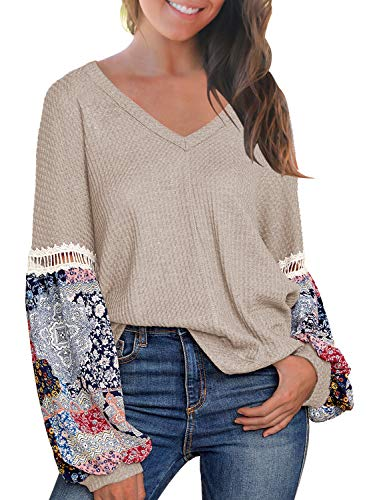 MIHOLL Women's Casual Tops Printed Long Sleeve V Neck T Shirts Loose Pullover Sweater (Medium, Oatmeal)