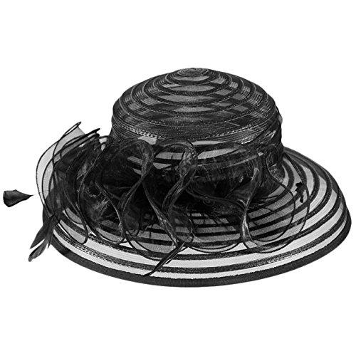 Mcburn Mujer Negro Rayas invierno Amarna Verano Cloche Estampado De Ocasión Sombrero SIqSwr