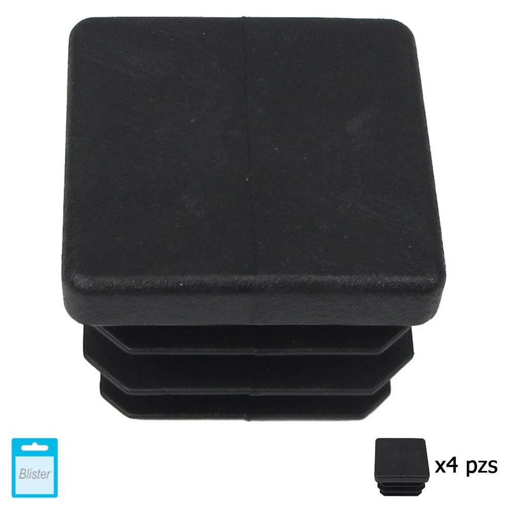 Maurer 5330708 Contera Cuadrada de Interior, Negro, 35 x 35 mm, Set de 4 Piezas