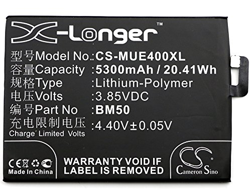 Cameron Sino 5300mAh Li-Polymer High-Capacity Replacement Batteries for Xiaomi Max 2, Mi Max 2, Mi Max 2 Dual SIM, MDE40, fits Xiaomi BM50 with tools kit by Cameron Sino