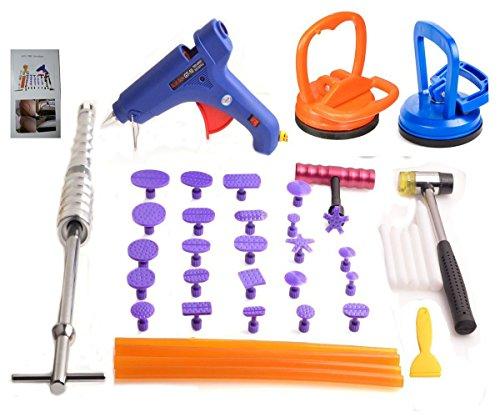 HiYi 39pcs Auto Paintless Dent Repair Kits Dent Glue Puller Body Slide Hammer Wave Tabs Knock Down (Heat Wave Tab)