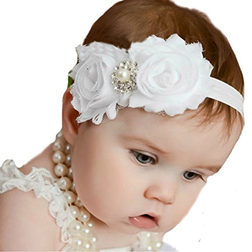 Miugle Baby Girl Christening Headbands with Bows Baby Baptism Headbands ()
