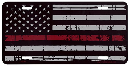 Thin Red Line License Plate/ FREE MATCHING 4 x 6 DECAL LP2083 (Fireman License Plate)