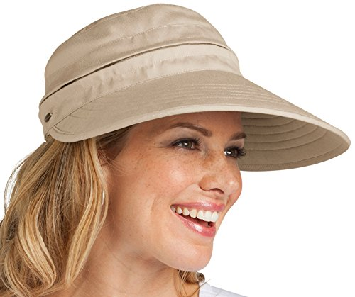 899d33d9d Coolibar Women's Uv Protective Upf 50 Plus Zip-Off Visor-Natural, One Size
