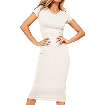 f0f4d6ebac6 Amazon.com  Sexy Midi Women s Dress Short Sleeve O Neck Casual Evening  Party Bodycon Dress Clubbing Cocktail Party Toponly  Musical Instruments