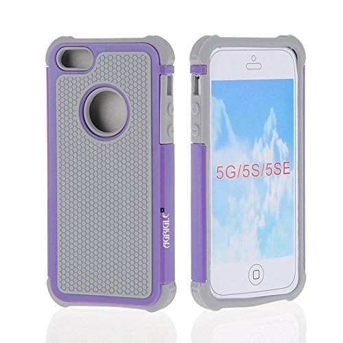 AGRIGLE Shock- Absorption / High Impact Resistant Hybrid Dual Layer Armor Defender Full Body Protective Cover Case For iPhone 5/5S/SE (Grey-Purple)