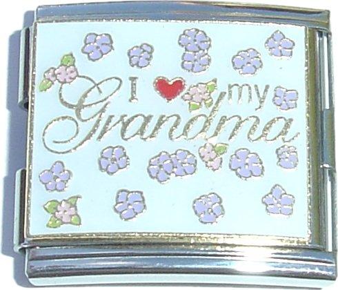 Mega I Love My Grandma Italian Charm (18mm Double Size Charm) ()