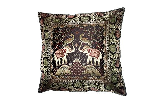Marudhara Fashion Indian Ethnic Hand Decorative Silk Pillow Cushion Cover Silk Home Decor Cushion Cover, Indian Silk Brocade Pillow Cover, Handmade Banarsi Pillow Cover Silk Pillowcases (Black) - Brocade Cushion