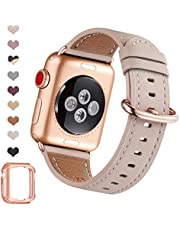 OMIU Leather Bands Compatible for Apple Watch 38mm 40mm 42mm 44mm, Genuine Leather Replacement Band Compatible with Apple Watch Series 5/4/3/2/1 Edition (Pink Sand/Rose Gold, 38mm 40mm)