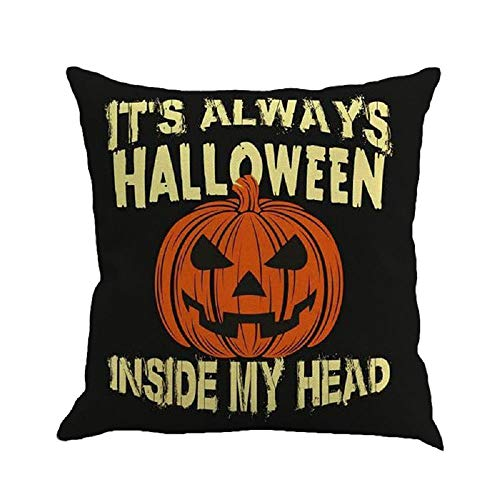 HGWXX7 Halloween Throw Pillow Covers Classic Linen Cushion Cover for Sofa Bedroom Car Home Decor Many Color & Size Options(C)