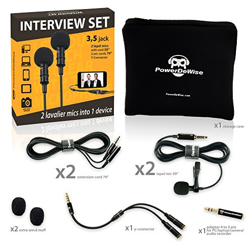 2 Lavalier Lapel Microphones Set for Dual Interview - Dual Lavalier Microphone - 2 Lavalier Microphone Set - Perfect as Blogging Vlogging Interview Microphone for iPhone 6, 7, 8, X