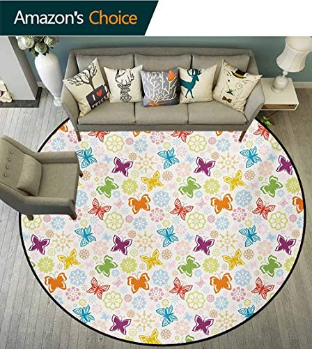 RUGSMAT Butterfly Small Round Rug Carpet,Cartoon Style Animal Silhouette with Flower Patterned Background Vibrant Image Door Mat Indoors Bathroom Mats Non Slip,Diameter-31 Inch Multicolor