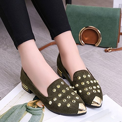 T-JULY Women Pointed Toe Rivets Low-Heeled Penny Loafer Synthetic Fashion Soft Shoes Army Green eHMSP