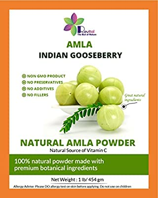 Revital 100% Natural Indian Gooseberry Amla Powder 1Lb, Use For Hair and Health, Natural Vitamin C and Antioxidants for Immune Support, Pure and Fresh Powder