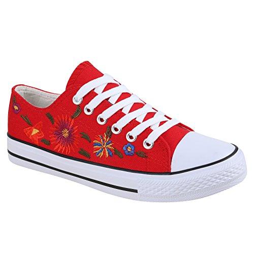 Damen Sneakers Blumen Freizeitschuhe Denim Sneaker Low Schuhe Stoffschuhe Turnschuhe Flandell Rot Flower