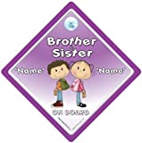 Brother And Sister On Board Car Sign, Personalised Baby On Board Sign, Custom Baby on Board Sign, WE'LL ADD ANY NAME To Create Your Own Personalised Baby on Board Sign, baby on board, Personalised Baby on Board Signs, Personalised Car Signs, Custom Car Signs, Custom Baby On Board Sign, Baby Car Signs, Car Sign, Bumper Sticker, Baby on Board, Automobile Sign, Vehicle Sign, How do you add your stuff? Simple, just order this sign and we will contact you by email