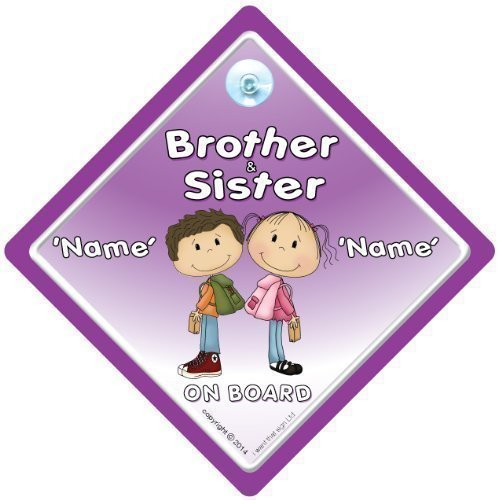 Brother And Sister On Board Car Sign, Personalised Baby On Board Sign, Custom Baby on Board Sign, WE'LL ADD ANY NAME To Create Your Own Personalised Baby on Board Sign, baby on board, Personalised Baby on Board Signs, Personalised Car Signs, Custom Car Sig