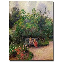 Garden at the Hermitage, Pontoise, 1877 by Camille Pissarro, 24 by 32-Inch Canvas Wall Art