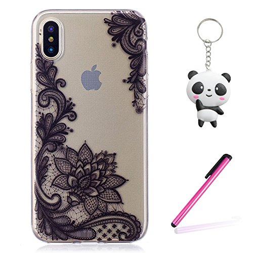 Coque iPhone X Fleur noir Premium Gel TPU Souple Silicone Transparent Clair Bumper Protection Housse Arrière Étui Pour Apple iPhone X / iPhone 10 (2017) 5.8 Pouce Avec Deux cadeau