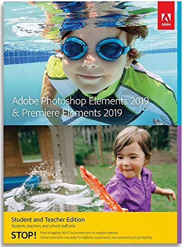 Software : Adobe Photoshop Elements 2019 & Premiere Elements 2019 Student and Teacher [PC Online Code]