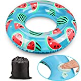 Inflatable Swim Ring Pool Float with integrated built-in Inflator Qoosea Toy PVC Inflatable Watermelon Simply press the pump inflator by the air-relief nozzle pool-party Water Fun(latest hottest)