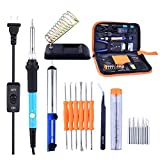 ICTOLOGY Soldering Iron Kit,17-in-1 Soldering Iron Kit Electronics, 60W 110V with Adjustable Temperature Welding Iron Electric Soldering Tools, 5PCS Soldering Tips,Desoldering Pump,Soldering Iron Stan
