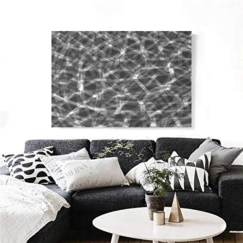 Arrow Bent Post (homehot Grey Wall Art Canvas Prints Trippy Grunge Haze Digital Display with Fractal Pieces Parts Lines Contemporary Bents Art Ready to Hang for Home Decorations Wall Decor 36