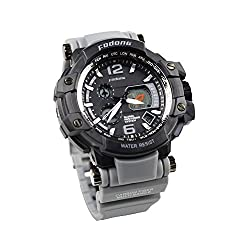 FODONG Mens Fashion Sport Watch Double Display Water Resistant Quartz Movement Digital Watch with Adjustable Band Gray