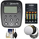 Interfit INTR1C TTL / E-TTL ll Studio Flash Remote for Canon for S1 and S1a Monolight with Batteries & Charger + 5 Collapsible Reflector Disks + Kit