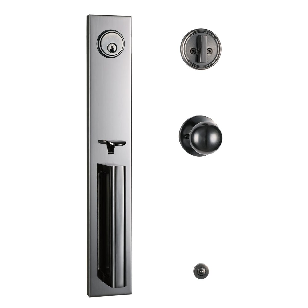 Entry Door Single Cylinder HandleSet with Knob Door Handle for Entrance and Front Door Reversible for Right and Left Handed and a Single Cylinder Deadbolt Handle Set inUS 15A,MDHST2016PW-AMZ