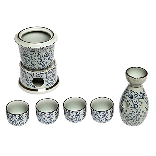 Exquisite Ceramic Blue Flowers Japanese Sake Set w/ 4 Shot Glass/Cups, Serving Carafe & Warmer Bowl