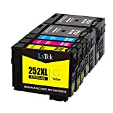 LxTeK Remanufactured Ink Cartridge Replacement Set For Epson 252 252XL High Yield (2 Black|1 Cyan|1 Magenta|1 Yellow) 5 Pack Compatible With Workforce WF-3620 WF-3630 WF-3640 WF-7620 WF-7610 WF-7110