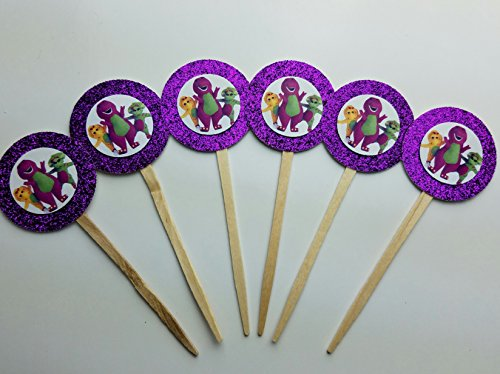 8 Purple Barney Dinosaur Cupcake Toppers Picks Birthday Party Baby Bop (Bj Party Supplies)