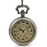 Rare Antique Style See Though Case Chinese Zodiac Dail Hand Wind Mechanial Mens Pocket Watch