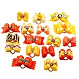 PET SHOW Mixed Styles Pet Cat Puppy Topknot Small Dog Hair Bows With Rubber Bands Grooming Accessories Orange Pack of 20