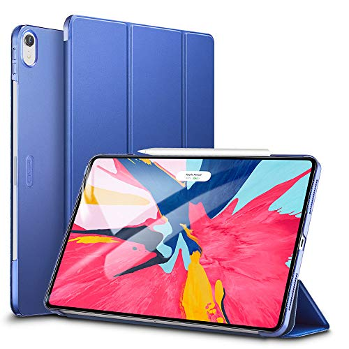 ESR Yippee Trifold Smart Case V2.0 for iPad Pro 12.9 2018,Lightweight Stand Case,Auto Sleep/Wake[Apple Pencil Charging Supported],Microfiber Lining, Hard Back Cover for iPad Pro 12.9 2018, Navy Blue
