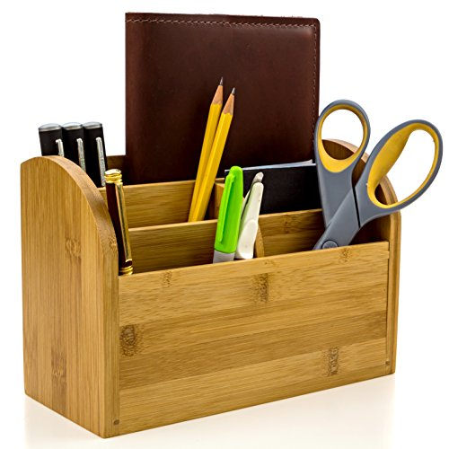 (Desk Organizer Caddy for Office Supplies Pen Holder & Desk Accessories Made of Organic Bamboo by Intriom Bamboo Collection)