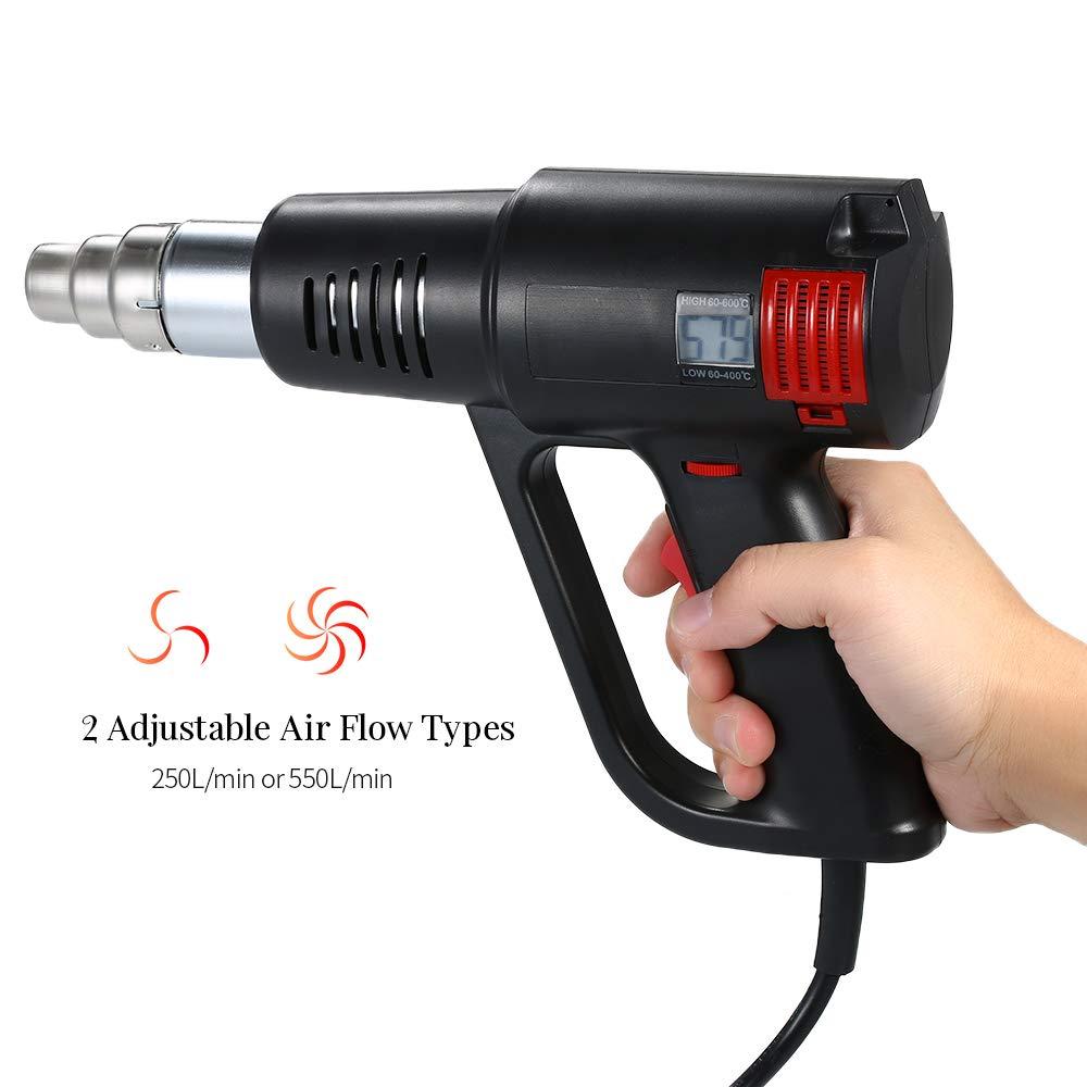 Roeam 2000 Watt Hei/ßluftpistole mit 4 D/üsen Industrielle Schnelle Heizung LCD Digital Temperaturgesteuerte Hochwertige Handw/ärmer Gebl/äse Elektrische Einstellbare Temperatur Hei/ßluftgebl/äse