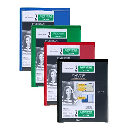 Five Star 2-Pocket Folders with Prong Fasteners, Folders with Pockets, Customizable Cover, Plastic, 4 Pack (38133)