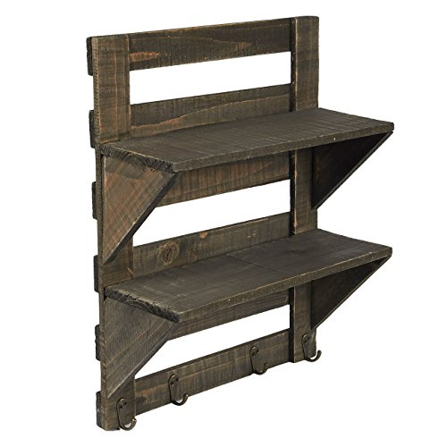 Hanging Wall Shelves - Wall-Mounted 2-Tier Rustic Distressed Vintage Wood Shelf with Hooks - Perfect for Entryways, Homes, Living Rooms, Bedrooms, 16.3 x 12.6 x 5.5 Inches