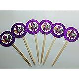 8 Purple Barney Dinosaur Cupcake Toppers Picks Birthday Party Baby Bop BJ