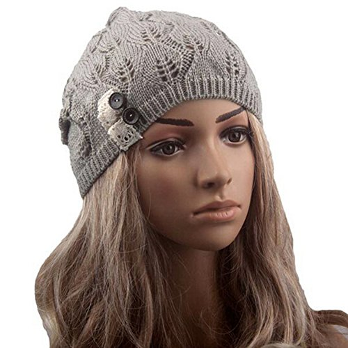 Qingsun Fashion Women's Lady Girl Lightweight leaves Lace Crochet Knit Skullcaps Beret Beanie Hat with Side Button