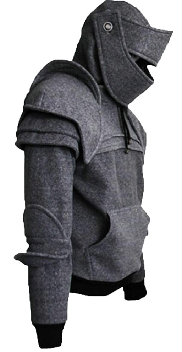 Ptyhk RG Mens Vintage Solid Mask Hoodie Sweatshirt with Pocket
