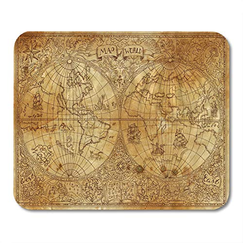 Emvency Mouse Pads Vintage of Ancient Atlas Map World on Old Pirate Adventures Treasure Hunt and Transportation Graphic Mouse pad Mats 9.5