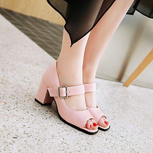 Cinturino Moda Peep Donna Caviglia Tacco Toe con Scarpe Grosso Fibbia Rosa Xinwcang Scarpe z4xqUwA0dd
