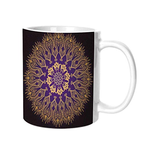 Gold Mandala Fashion Coffee Cup,Round Lace Like Arabesque Motif Leaf Figures Folkloric Ethnic Print Decorative For office,One size