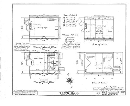 Historic Pictoric Structural Drawing HABS NY,60-SAL,1- (Sheet 1 of 7) - Town Hall, Salem Center, Westchester County, NY 55in x 44in